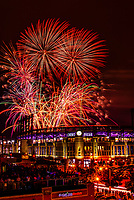 Fourth of July fireworks being fired from  Coors Field (after a Colorado Rockies baseball game), Denver, Colorado USA.