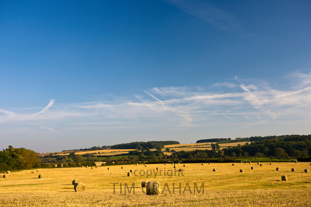 Straw bales in stubble field after crop harvest in Gloucestershire, England, United Kingdom