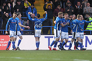 GOAL Ian Henderson celebrates the first Rochdale goal  during the The FA Cup match between Rochdale and Tottenham Hotspur at Spotland, Rochdale, England on 18 February 2018. Picture by Daniel Youngs.