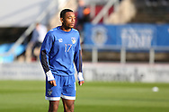 Kallum Mantack of Oldham Athletic warms up before  the EFL Cup match between Oldham Athletic and Wigan Athletic at Boundary Park, Oldham, England on 9 August 2016. Photo by Simon Brady.