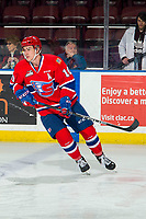 KELOWNA, BC - MARCH 13: Ethan McIndoe #10 of the Spokane Chiefs warms up against the Kelowna Rockets at Prospera Place on March 13, 2019 in Kelowna, Canada. (Photo by Marissa Baecker/Getty Images)