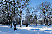 Woman out running in a winter scene in the snow in Canon Hill Park in Moor Green on 25th January 2021 in Birmingham, United Kingdom. Deep snow arrived in the Midlands giving some light relief and fun during the current lockdown for people who simply enjoyed the weather.