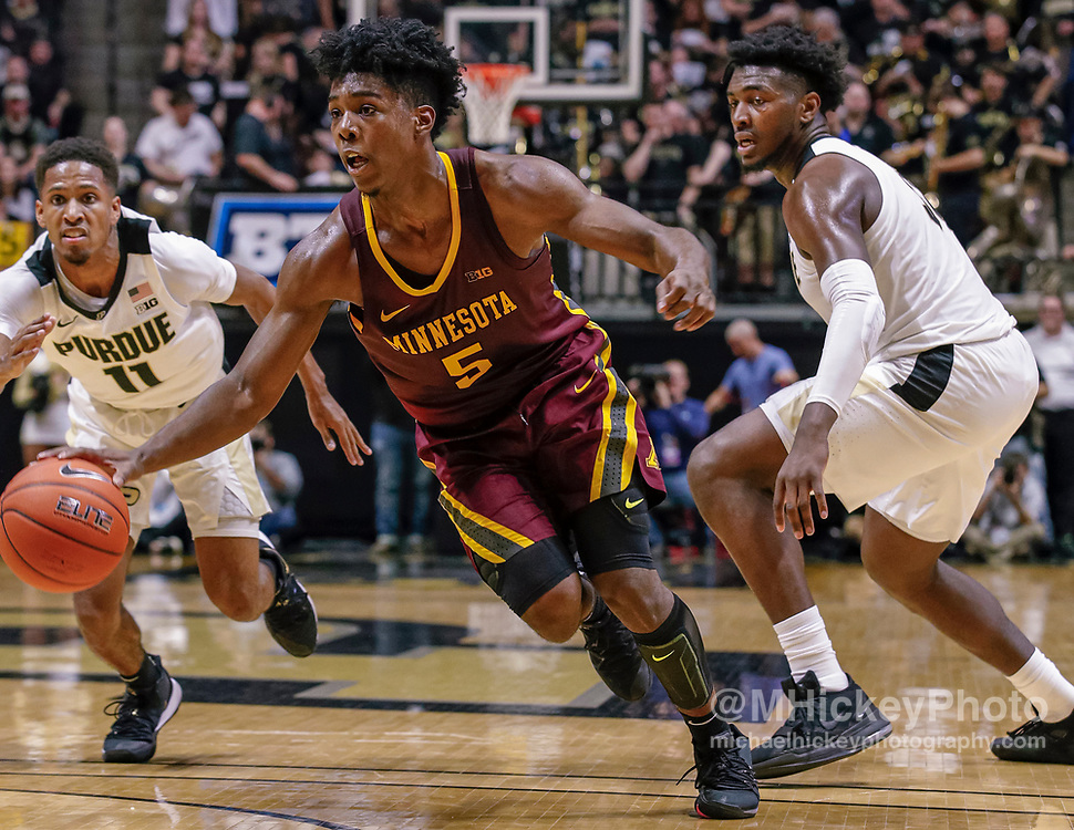 WEST LAFAYETTE, IN - JANUARY 02: Marcus Carr #5 of the Minnesota Golden Gophers drives to the basket during the game against the Purdue Boilermakers at Mackey Arena on January 2, 2020 in West Lafayette, Indiana. (Photo by Michael Hickey/Getty Images) *** Local Caption *** Marcus Carr