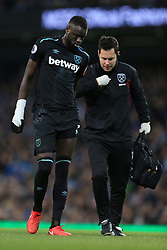 3rd December 2017 - Premier League - Manchester City v West Ham United - Cheikhou Kouyate of West Ham goes off with an injury - Photo: Simon Stacpoole / Offside.
