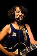 Gaby Moreno performs live at Rich Mix, on the first night of the La Linea Festival 2014. Shoreditch, London, UK (4 April 2014). The Guatemalan-born singer won the Latin Grammy for best new artist in November 2013. © Rudolf Abraham