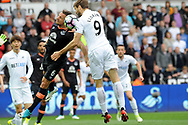 Fernando Llorente of Swansea city beats Everton Captain Phil Jagiekla to score his teams 1st goal from a header in the first half .Premier league match, Swansea city v Everton at the Liberty Stadium in Swansea, South Wales on Saturday 6th May 2017.<br /> pic by  Phil Rees, Andrew Orchard sports photography.