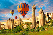Hot Air Baloons over the Love Valley at sunrise , Cappadocia Turkey .<br /> <br /> If you prefer to buy from our ALAMY PHOTO LIBRARY  Collection visit : https://www.alamy.com/portfolio/paul-williams-funkystock/cappadocia-balloons.html<br /> <br /> Visit our TURKEY PHOTO COLLECTIONS for more photos to download or buy as wall art prints https://funkystock.photoshelter.com/gallery-collection/3f-Pictures-of-Turkey-Turkey-Photos-Images-Fotos/C0000U.hJWkZxAbg