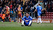 Disappointed Gillingham forward Conor Wilkinson at full time during the EFL Sky Bet League 1 match between Bradford City and Gillingham at the Northern Commercials Stadium, Bradford, England on 24 March 2018. Picture by Paul Thompson.