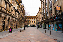 Glasgow, Scotland, UK. 6 Mar 2021. With Scotland remaining under national lockdown during the covid-19 pandemic Glasgow city centre remains a virtual ghost town with few people in the city centre and almost all shops and businesses still closed.  Pic; Gordon Street is empty. ain Masterton/Alamy Live News