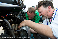 Paul D'Orleans working on the 1933 Brough Superior with the help of Scott Wages during Stage 13 (257 miles) of the Motorcycle Cannonball Cross-Country Endurance Run, which on this day ran from Elko, NV to Meridian, Idaho, USA. Thursday, September 18, 2014.  Photography ©2014 Michael Lichter.