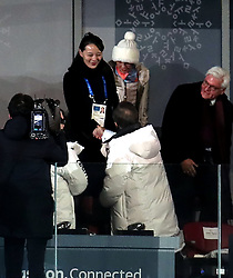 South Korean President Moon Jae (centre) shakes hands with North Korea's Kim Yo-jong (sister of North Korean leader Kim Jong-un) during the Opening Ceremony of the PyeongChang 2018 Winter Olympic Games at the PyeongChang Olympic Stadium in South Korea.