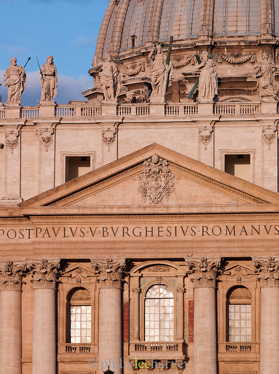 Detail of St. Peters Basilica, Vatican City, Rome, Italy.