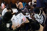 Liberian reporters congregate.