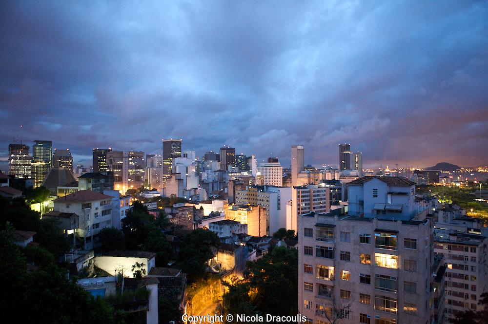 Overlooking Centro from Santa Teresa, Rio De Janeiro at Night, Brazil, July 2009.
