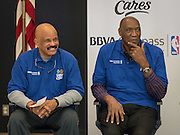 NBA legends John Lucas, left, and Elvin Hayes, right, participate in a financial education and success program sponsored by NBA Cares and BBVA Compass at Crespo Elementary School, February 27, 2014.