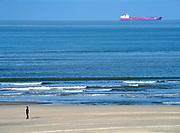 Nederland, the netherlands, 7-2-2018 Zicht op de Noordzee vanaf het strand van Hoek van Holland . Dagjesmensen en andere wandelaars genieten van het mooie weer . Een schip , tanker, vaart op zee .Foto: Flip Franssen