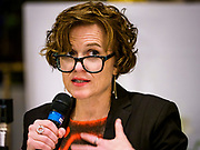 """18 APRIL 2017 - MINNEAPOLIS, MN: BETSY HODGES, mayor of Minneapolis, at a """"Town Hall"""" style community meeting related to immigration at Incarnation Catholic Church in Minneapolis, MN. About 200 people attended the meeting. The meeting was hosted by Congressman Keith Ellison.     PHOTO BY JACK KURTZ"""