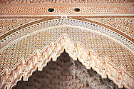 Berber Muqarnas Arabesque stalactite plaster work on the ceiling of the inner courtyard of  the Kashah of Telouet, Morocco .<br /> <br /> Visit our MOROCCO HISTORIC PLAXES PHOTO COLLECTIONS for more   photos  to download or buy as prints https://funkystock.photoshelter.com/gallery-collection/Morocco-Pictures-Photos-and-Images/C0000ds6t1_cvhPo<br /> .<br /> <br /> Visit our ISLAMIC HISTORICAL PLACES PHOTO COLLECTIONS for more photos to download or buy as wall art prints https://funkystock.photoshelter.com/gallery-collection/Islam-Islamic-Historic-Places-Architecture-Pictures-Images-of/C0000n7SGOHt9XWI