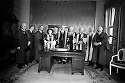 23/04/1964<br /> 04/23/1964<br /> 23 April 1964<br /> Honorary Degrees conferred at the National University of Ireland, Iveagh House, Dublin. <br /> Picture shows a group of all the recipients of degree present at the conferring: (l-r) Michael W. O'Reilly who received degree of LL.D., Managing Director New Ireland Assurance Co.; Lieut.-General Michael J. Costello (Degree LL.D.), General Manager Irish Sugar Co.; Dr. Seamus Wilmot, Register N.U.I.; J.F. Dempsey (Degree LL.D.), General Manager, Aer Lingus; Mrs Cecil Woodham-Smith (Degree D.Litt.), Distinguished author and historian; Dr. Michael Tierney, President of U.C.D.; President Eamon de Valera, Chancellor of N.U.I.; Dr. Seamus Ryan ( Degree D.Econ.Sc.), Minister for Finance; Right Rev. Monsignor Patrick J. I. McLaughlin (D.Sc. Degree), P.P. Carrigart, Co. Donegal; Sir Willis Jackson, (Degree D.Sc.) Head of Department of Electrical Engineering, Imperial College of Science and Technology, London and Dr. Tarlach O Raifeartaigh, (Degree LL.D.) Secretary, Department of Education.
