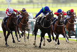 Tiempo Star ridden by Rossa Ryan (left) on their way to winning the Download The At The Races App Nursery at Lingfield Park Racecourse. Picture date: Monday October 4, 2021.