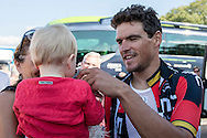 Olympic Gold medal winner Greg van Avermeat with his child en mother during the Eneco Tour 2016 at  at Breda, Breda, Holland on 20 September 2016. Photo by Gino Outheusden.