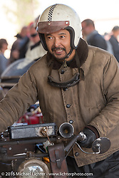 Yoshimasa Niimi of Japan pulls into Page with his Team-80 Chabott Engineering 1915 Indian twin during the Motorcycle Cannonball Race of the Century. Stage-12 ride from Page, AZ to Williams, AZ. USA. Thursday September 22, 2016. Photography ©2016 Michael Lichter.