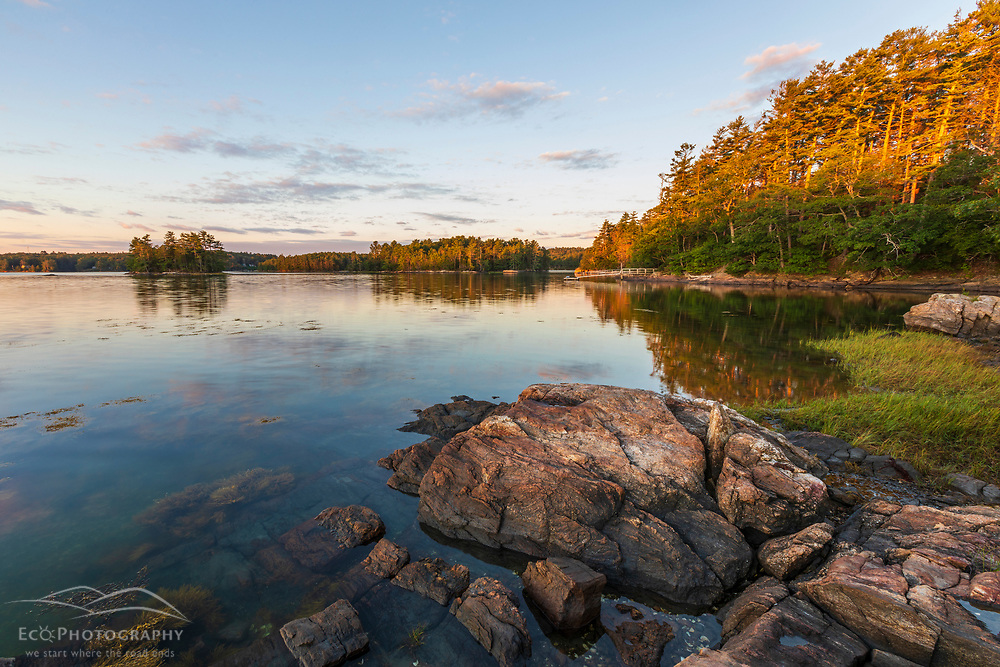 Early morning on the shores of the New Meadows River at the Woodward Point Preserve in Brunswick, Maine.