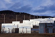The Four Solaire d'Odeillo giant solar furnace, at the PROMES laboratory at the CNRS facility at Odeillo, France. By focussing intense sunlight through a system mirrors, the Four Solaire can generate the power of 10,000 suns (1000 kilowatts) and reached temperatures of over 3000 degrees Celcius. Most of the research work here concerns the conversion, storage and transportation of energy.
