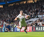 Twickenham, England. Jonny MAY, diving in, the score a second half try, during the  QBE International. England vs France [World cup warm up match]  {DOW  {DATE}  [Mandatory Credit. Peter SPURRIER/Intersport Images.