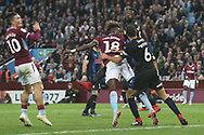 Tammy Abraham of Aston Villa (18) gets a header in at goal during the EFL Sky Bet Championship match between Aston Villa and Rotherham United at Villa Park, Birmingham, England on 18 September 2018.
