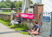Henley on Thames, England, United KingdomFriday, 02/07/2021, Finish Line officials and Time recorder, Out side Remenham Club,   Henley Women's Regatta, Henley Reach,  [Peter Spurrier/Intersport Images],