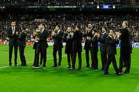 Real Madrid basketball players offers the Spanish King Cup to the supporters during 2014-15 La Liga match between Real Madrid and Villarreal CF at Santiago Bernabeu stadium in Madrid, Spain. March 01, 2015. (ALTERPHOTOS/Luis Fernandez)