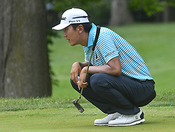 July 15, 2018 - Silvis, Illinois, U.S. - SILVIS, IL - JULY 15:  Michael Kim lines jump his ;putt on the #6 green during the final round of the John Deere Classic on July 15, 2018, at TPC Deere Run, Silvis, IL.  (Photo by Keith Gillett/Icon Sportswire) (Credit Image: © Keith Gillett/Icon SMI via ZUMA Press)