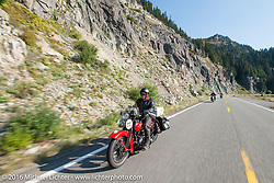 Jeff Lauritsen riding his 1934 Harley-Davidson VLD during Stage 16 (142 miles) of the Motorcycle Cannonball Cross-Country Endurance Run, which on this day ran from Yakima to Tacoma, WA, USA. Sunday, September 21, 2014.  Photography ©2014 Michael Lichter.