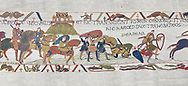 Bayeux Tapestry scene 17 : Crossing the Couesnon River near Mont St Michele, Duke Williams Soldiers sink in quicksand. BYX17 .<br /> <br /> If you prefer you can also buy from our ALAMY PHOTO LIBRARY  Collection visit : https://www.alamy.com/portfolio/paul-williams-funkystock/bayeux-tapestry-medieval-art.html  if you know the scene number you want enter BXY followed bt the scene no into the SEARCH WITHIN GALLERY box  i.e BYX 22 for scene 22)<br /> <br />  Visit our MEDIEVAL ART PHOTO COLLECTIONS for more   photos  to download or buy as prints https://funkystock.photoshelter.com/gallery-collection/Medieval-Middle-Ages-Art-Artefacts-Antiquities-Pictures-Images-of/C0000YpKXiAHnG2k