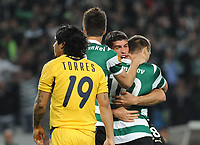 20120329: LISBON, PORTUGAL - Football - UEFA Europe League 2011/2012 - Quarter-finals, First leg: Sporting CP vs Metalist<br /> In picture: Sporting's Marat Izmailov, from Russia, celebrates with teammate Emiliano Insua, from Argentine, after scoring their opening goal.<br /> PHOTO: Alvaro Isidoro/CITYFILES