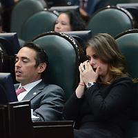 Toluca, México (Octubre 05, 2016).- Laura Barrera Fortul, Diputado Local por el PRI, durante la sesión deliberante del tercer periodo ordinario en la Cámara de diputado del Estado de México. Agencia MVT / Arturo Hernández.