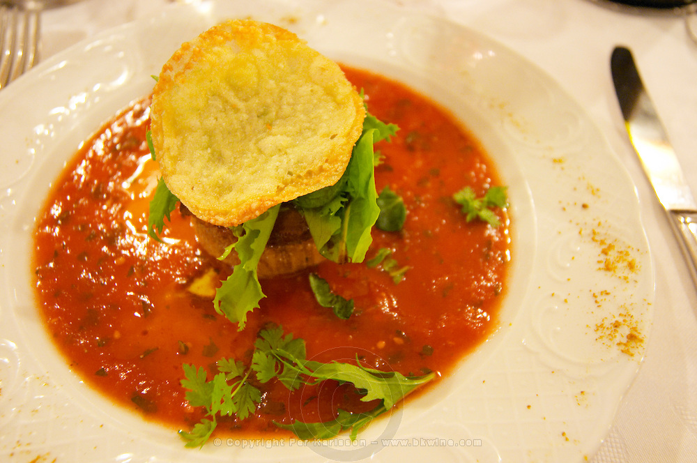 In the restaurant Le Chaudron in Tournon, a white plate with tomato sauce a salad, a crottin de chavignol goat cheese and a parmesan chips crisp