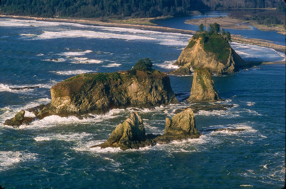 Aerial view of seastacks and the Ozette River, Olympic National Park, Washington, USA