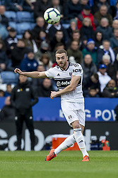 March 9, 2019 - Leicester, Leicestershire, United Kingdom - Calum Chambers of Fulham FC crosses the ball into the box  during the Premier League match between Leicester City and Fulham at the King Power Stadium, Leicester on Saturday 9th March 2019. (Credit Image: © Mi News/NurPhoto via ZUMA Press)