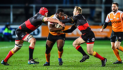 Cheetahs' Ox Nche is tackled by Dragons' Sarel Pretorius and Joseph Davies<br /> <br /> Photographer Craig Thomas/Replay Images<br /> <br /> Guinness PRO14 Round 18 - Dragons v Cheetahs - Friday 23rd March 2018 - Rodney Parade - Newport<br /> <br /> World Copyright © Replay Images . All rights reserved. info@replayimages.co.uk - http://replayimages.co.uk