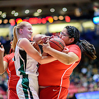 031215  Adron Gardner/Independent<br /> <br /> Hope Christian Husky Brielle Milford (32), left, ties up with Shiprock Chieftain Shjantel Grey (00) for a jump ball during a 4A New Mexico state basketball tournament semifinal at The Pit in Albuquerque Thursday.