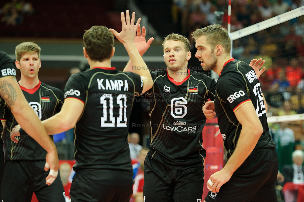 07.09.2014, Spodek, Katowice, POL, FIVB WM, Deutschland vs Süd Korea, Gruppe B, im Bild Denys Kaliberda, Tim Broshog // during the FIVB Volleyball Men's World Championships Pool B Match beween Germany and South Korea at the Spodek in Katowice, Poland on 2014/09/07. <br /> <br /> ***NETHERLANDS ONLY***