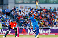 India T20 all rounder KL Lokesh Rahul hits a huge six  during the International T20 match between England and India at Old Trafford, Manchester, England on 3 July 2018. Picture by Simon Davies.