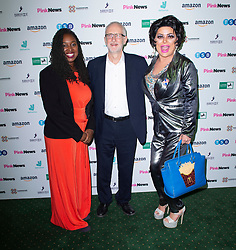Pink News Awards 2019 <br /> At Church House, London, Great Britain <br /> 16th October 2019 <br /> <br /> Dawn Butler MP, Jeremy Corbyn MP & Baga Chips <br /> <br /> Photograph by Elliott Franks