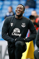 Romelu Lukaku of Everton stretching during pre match warm up. Barclays Premier league match, Chelsea v Everton at Stamford Bridge in London on Saturday 16th January 2016.<br /> pic by John Patrick Fletcher, Andrew Orchard sports photography.