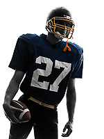 one  quarterback american football player man in silhouette studio isolated on white background