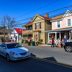 St. Michaels, MD, USA - March 30, 2013: Some of shops and stores in St Michaels, MD