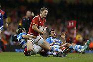George North of Wales is brought down short of the line.  Under Armour 2016 series international rugby, Wales v Argentina at the Principality Stadium in Cardiff , South Wales on Saturday 12th November 2016. pic by Andrew Orchard, Andrew Orchard sports photography