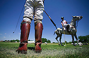 SHOT 7/22/2007 - BKD team members Ignacio Saracco (right, on horse) talks with Santiago Mendez (left, foreground) during a break in the action on Smith Barney Championship Day Sunday July 22, 2007 at the 20th Annual Denver Polo Classic at the Polo Reserve Development near Mineral and Santa Fe in Littleton. The 2007 Denver Polo Classic Presented by Avanade is the largest charity polo event in the U.S. Throughout the three-day weekend, four teams comprised of local, regional and international polo players will compete to play on championship day for the coveted Denver Polo Cup trophy. To date the event has raised more than $2 million for Colorado?s disadvantaged children and the charities that serve them. Team BKD won the Denver Polo Cup trophy with a 13-11 overtime victory over Team Avanade..(Photo by Marc Piscotty / © 2007)